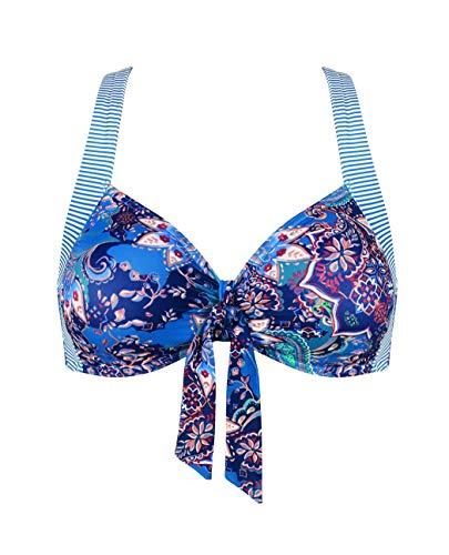 Triumph Riad Paisley P Parte de Arriba de Bikini, Multicolor (Blue/Dark Combination M008), Not Applicabled (Talla del Fabricante: 44D) para Mujer