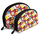 Folk Mexican Travel Portable Cosmetic Bags Organizer Set of 2 for Women Teens Girls