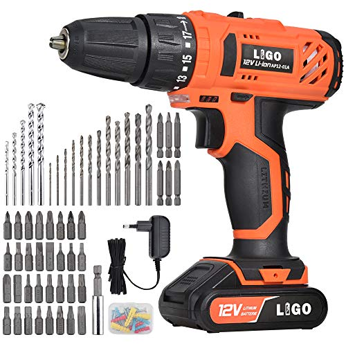 LIGO 12V Cordless Drill, Electric Drill Driver for 1500mAh Li-ion Battery Chargeable with 1 Hour Quick Charge, 2 Speed with LED Work Light, 77 Pieces Accessory bits