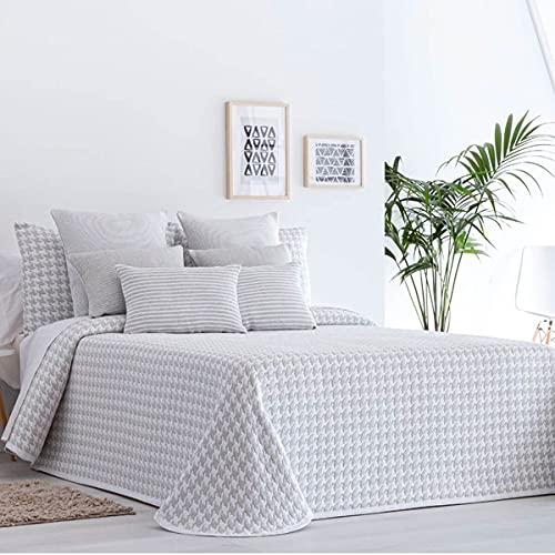Lanovenanube Tagesdecke Jacquard Charlotte – Bett 105 cm – Perlgrau