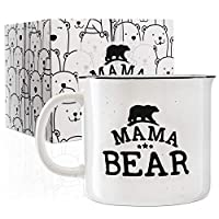 Papa Bear & Mama Bear Campfire Ceramic Mugs for Couples - White - 15 oz