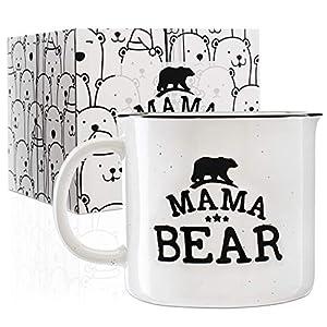 Papa Bear & Mama Bear Campfire Ceramic Mugs for Couples - White - 15 oz