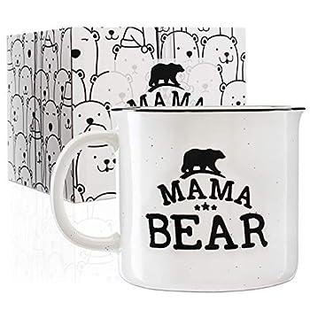 Mama Bear Stoneware Engraved Campfire Ceramic Mug - White - 15 oz Mother s Day Gifts - Retro Coffee Mug - Mama Bear Coffee Cup