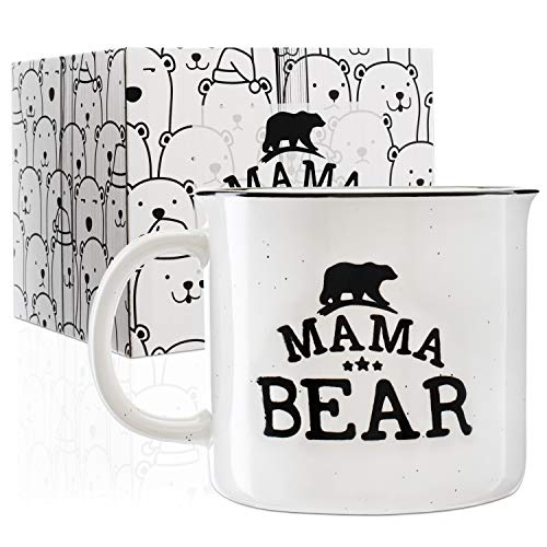 Mama Bear Stoneware Engraved Campfire Ceramic Mug - White - 15 oz, Mother's Day Gifts - Retro Coffee Mug - Mama Bear Coffee Cup