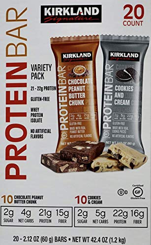 Kirkland Signature Protein Bars Chocolate Peanut Butter Chunk/ Cookies & Cream Flavor 20 X 2.12 Oz Net Wt, 42.4 Ounce (Pack of 1)