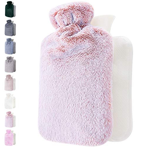 Hot Water Bottle with Soft Cover - 1.8L Large - Classic Hot Water Bag for Pain Relief, Neck and Shoulders, Feet Warmer, Menstrual Cramps, Hot and Cold Therapy - Great Gift for Women and Girls (Pink)