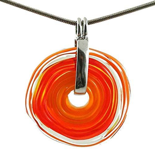 Elegante Kette mit einzigartigem Schmuckanhänger aus Murano-Glas/Glas-Wechsel-Schmuck/Unikat handmade/Personalisiertes Geschenk für Sie zum Hochzeitstag Geburtstag Muttertag (2 - Orange)