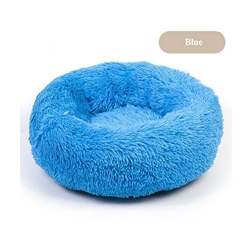 Pet bed 30-100 cm de largo de felpa redonda para perro, cama suave de invierno para gatos, tumbona para dormir, cojín para cachorro, auto calentamiento para perros y gatos, 50 cm de color azul