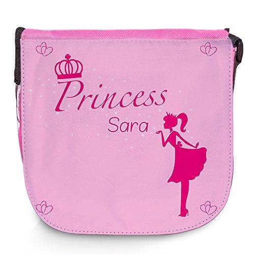 Umhängetasche für Kinder mit Namen Sara und schönem Prinzessin-Motiv | Schultertasche für Mädchen