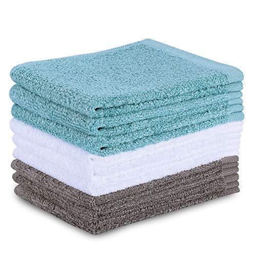 TOBEHIGHER Kitchen Dishcloth Dish Rags - 9 pcs, Super Absorbent Dish Cloths, Lint Free Wash Cloth Set, 10.2 x 10.2 inches - New Version