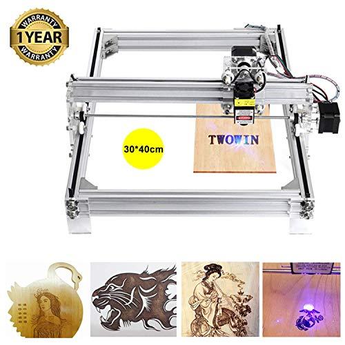 S SMAUTOP Kit de grabado láser, impresora de escritorio DIY Impresora de logotipo para marcado de imágenes, máquina de grabado de talla de madera USB de 12 V (30x40 cm, 10000 mW)