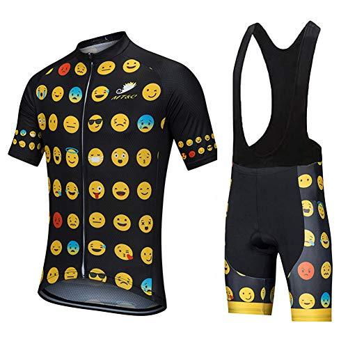 Jersey De Ciclismo Maillot Ropa Manga Corta para Mujer Hombres Bicicleta Verano Cycling Conjunto con Pantalones Cortos Acolchado 9D,B,2XL