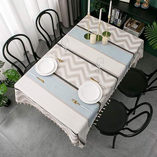 Yllang Nordic Tischdecke aus Wildleder Rechteck Tischdecke Wasserdicht Esstisch Abdeckung koreanische Quaste Tischtuch for Bar toalha de mesa (Color : 1, Specification : 140x240cm)