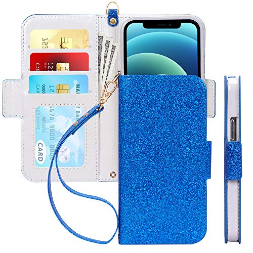 "Skycase Compatible for iPhone 12 Case/Compatible for iPhone 12 Pro Case 5G,[RFID Blocking]Handmade Flip Folio Wallet Case with Card Slots and Detachable Hand Strap for iPhone 12/12 Pro 6.1"" 2020,Navy"