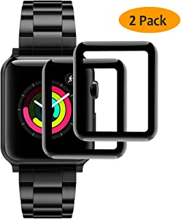 Hianjoo [2-Pack] Tempered Glass Screen Protector Compatible with Apple Watch 38mm [3D Curved Full Coverage], Anti-Scratch, No Bubble, Replacement for Apple iWatch 38mm Series 3/2/1 - Black Edge