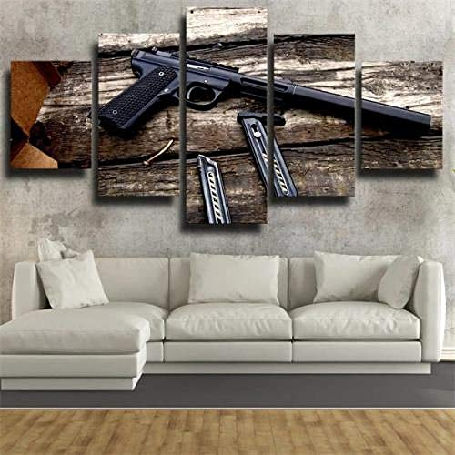 SESHA 5 Piezas Lienzo Poster Cuadros Modernos Impresión De Imagen Artística Digitalizada Pistolero