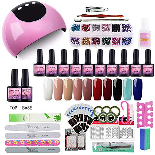Saint-Acior 24W UV/LED Lámpara Secador de Uñas Kit Uñas de Gel 10PC Esmalte...