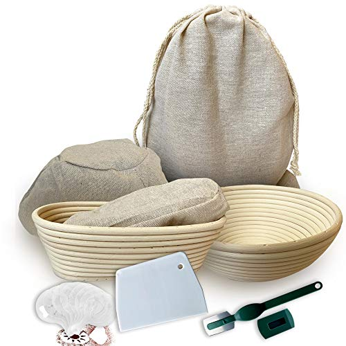 RoEsha Banneton Bread Proofing Basket 23 Piece Set, Round 9 and Oval 10 Inch Rattan Sourdough Baskets with Dough Scraper, Scoring Lame, Linen Bread Bag, Bread Basket Liner and Bread Stencils