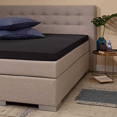 Jersey Topper Hoeslaken - Zwart - 80x200 cm - Jersey - Presence - Voor Matrassen Tot 10 CM