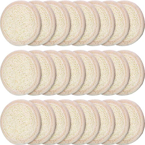 24 Pieces Exfoliating Loofah Pad Facial Body Scrubber Round Bath Shower Loofah Sponge Pad Natural Exfoliating Scrubber Brush Close to Skin for Men Women Shower Bath and Spa