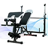 ANCHEER Adjustable Weight Bench , Multi-position Strength Standard Bench no include Dumbbells, Home Gym Workout Equipment with Rack Set, Olympic Fitness Bench with Leg Extension and Leg Curl