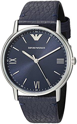 Emporio Armani Men s Kappa Stainless Steel Analog-Quartz Watch with Leather Calfskin Strap, Blue, 14 (Model: AR11012)