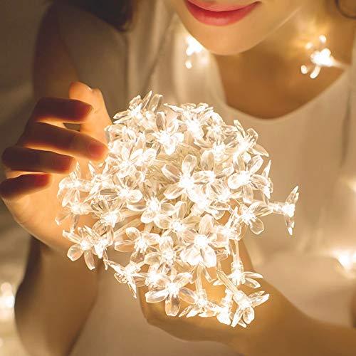HDZBB Cherry Blossom Flower Garland Led String Fairy Lights Usb Crystal Flowers Indoor Wedding Christmas Decors