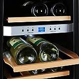 Klarstein Reserva - Getränkekühlschrank, Weinkühlschrank, 34 L, 12 Flaschen, 4 Regaleinschübe, leise, 2 Zonen, 7-18°C Temperaturbereich, LED-Innenbeleuchtung, schwarz-silber - 7