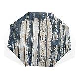 LASINSU Paraguas Resistente a la Intemperie,protección UV,Paneles Desgastados rústicos de Madera Vintage Antiguos Pintados