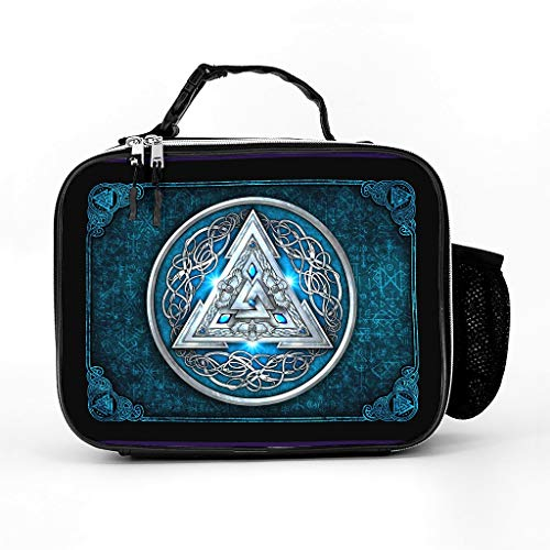 O3XEQ-8 Leather Viking Rune Blue Lunch Bag Modern Large Capacity - Meal Bag for Adults and Children Fits Hiking with Adjustable Shoulder Strap White One Size