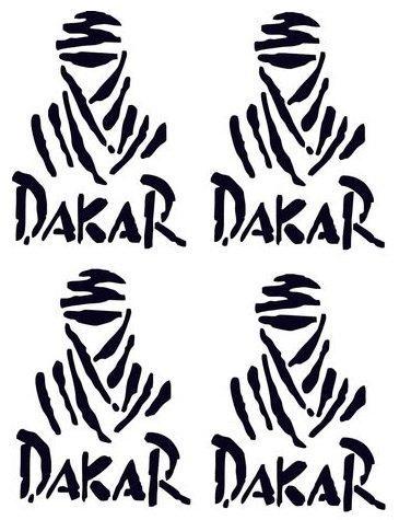 Set di adesivi Parigi-Dakar, 4 pezzi, colore nero