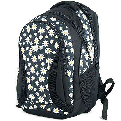 Mochila Escolar Grande para niños y niñas 40 litros yeepSport S106dx (Flowers White)