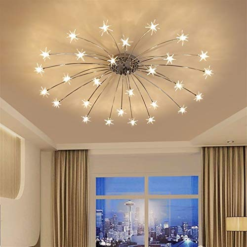 Durable G4 LED Bulbs Chandeliers Home Decor Living Room Transparent Glass Star Chandelier Lighting,110-240V decoretion (Nombre de lumières : 15 Lights)