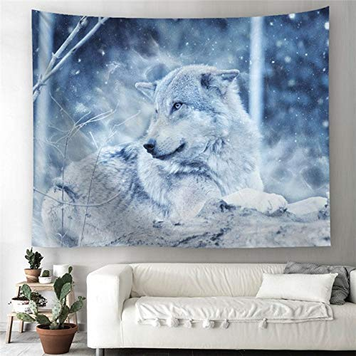 Yolaga Tapestry Halloween Tapestry Wall Hanging Pumpkin Print Beach Throw Towel Pad Snow Wolf,150X130cm