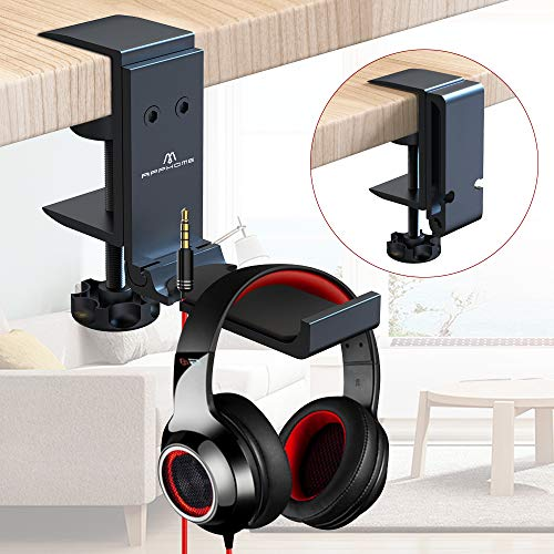 APPHOME Foldable Headphone Stand Holder - All Aluminum Headset Stand Hanger Desk Hook, PC Gaming Earphone Stand Under Desk with Built-i   n Cable Clip Organizer (Upgrade Black)