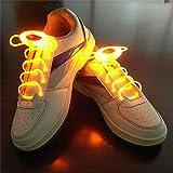ZYQ Jaune LED Lumineux Lacets 80 cm Glow Lacets LED Sport Chaussures Lacets Lueur Baton Clignotant Neon Lumineux Lacets 1 Paire