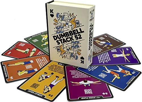Stack 52 Dumbbell Exercise Cards. Dumbbell Workout Playing Card Game. Video Instructions Included. Perfect for Training with Adjustable Dumbbell Free Weight Sets and Home Gym Fitness. (2019 Base Deck)