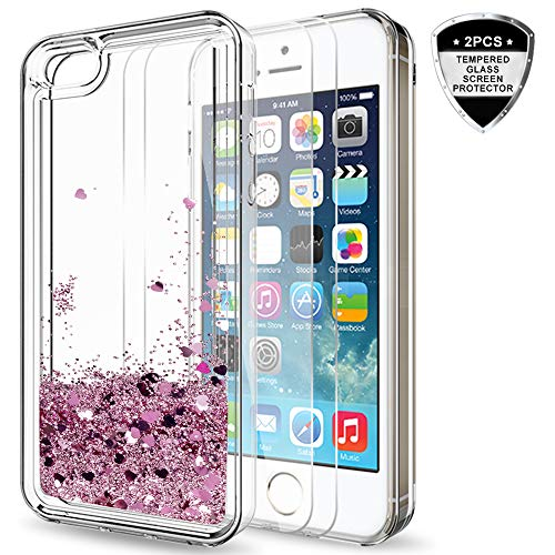 LeYi iPhone 5S Case, iPhone SE Case (2016) for Girls Women, Cute Shiny Glitter Liquid Clear TPU Protective Case for iPhone 5 ZX Rose Gold
