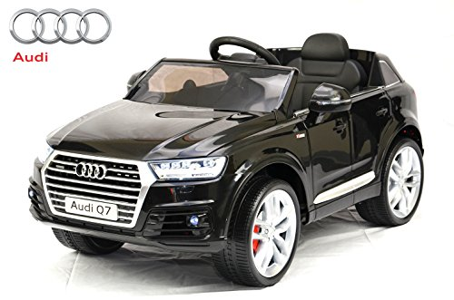 ES-TOYS Auto per Bambini - Auto elettrica Audi Q7 S-Line - Licenza - Batteria 12V7Ah, 2 Motori a 4 Vie di Telecomando, MP3, Seduta in Pelle