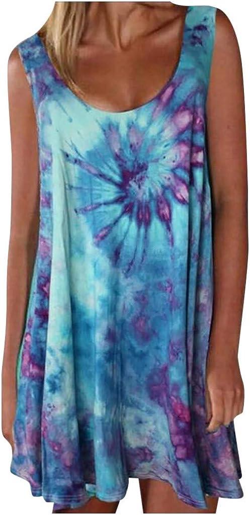 Women Tie-dye Print Sleeveless O-Neck Vest Dress Casual Colorful Mini Dress Sunmmer Loose Ladies Tank T-Shirt Dress