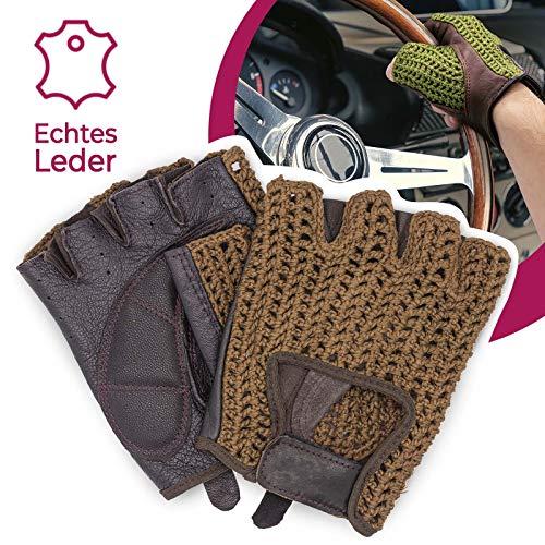Autofahrer Handschuhe Retro Vintage Leder Fingerlose Fahrerhandschuhe Fahrrad Oldtimer Dunkelbraun