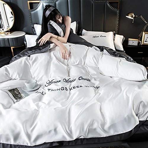 funda nordica cama 90 juveniles,La seda de hielo de verano es ropa de cama para dormir, funda de cama de cuatro piezas, color sólido, edredón doble individual-norte_Cama de 1,5 m (4 piezas)