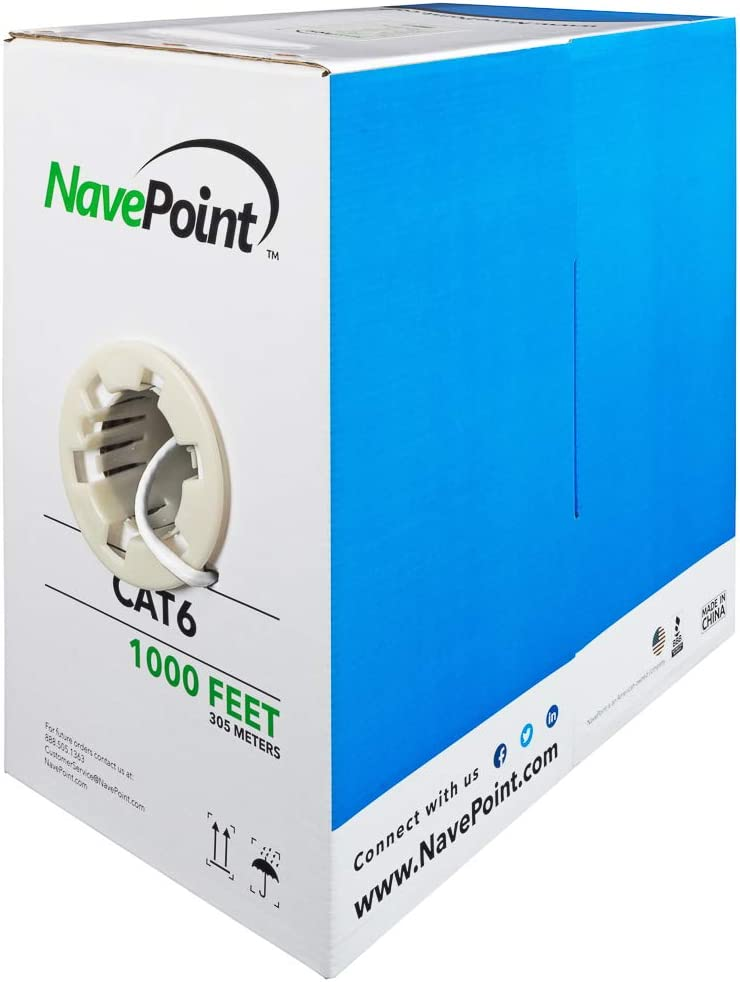 NavePoint Cat6 CCA 1000ft 5% OFF White Solid Bulk New Shipping Free Shipping Cable Ethernet