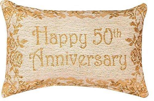 Decorative Throw Pillow Reversible Word Pillow, Golden 50th Anniversary