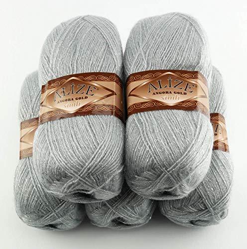 5 x 100 g Alize Glitzerwolle, Effektwolle einfarbig, 500 Gramm Metallic - Wolle mit 20% Woll-Anteil (grau 21)