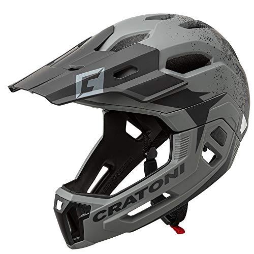 Cratoni C-Maniac 2.0 MX Fahrradhelm Fullfacehelm Downhill Freeride Kinnbügel abnehmbar (grau-schwarz, S/M (52-56 cm))