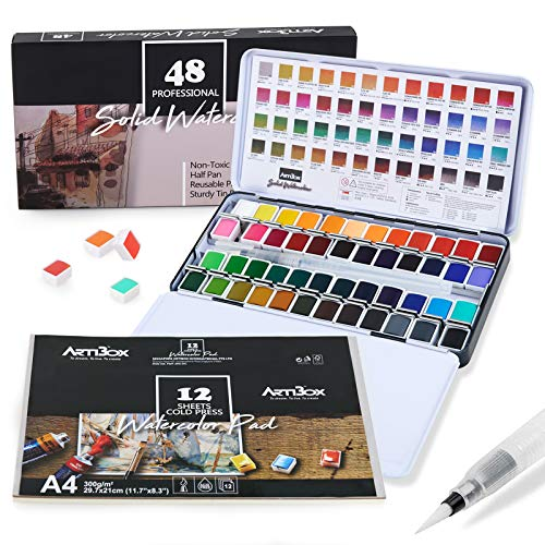ARTIBOX Watercolor Paint Set, 48 Assorted Vibrant Colors in Half Pans, Professional Watercolor Set with Brush, 12 Watercolor Paper Sheet, Ideal for Artist and Professional Student