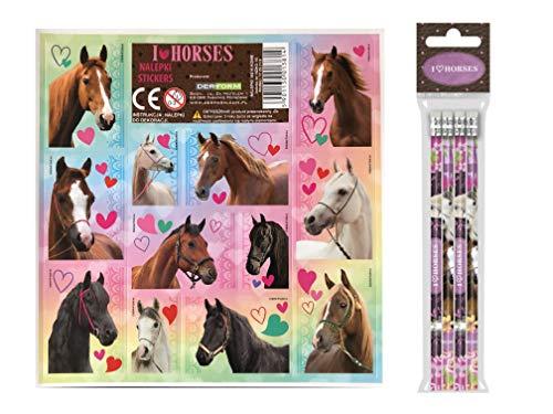 I Love Horses 16 TLG. Set Pferde 8 Bleistifte mit Radiergummi + 8 Stickerbogen Mitgebsel Kindergeburtstag Pony