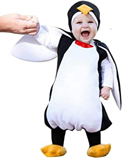 YOUNGER TREE 3 Pcs Toddler Baby Boys Girls Halloween Clothes 3D Penguin Hooded Top with Yellow Shoes