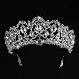 SNOWH Wedding Tiara Crowns for Bride - Royal Bridal Headpiece Rhinestone Princess Tiaras for Women, CZ Crystal Pageant Birthday Headbands Hair Jewelry with Comb, Silver+Clear
